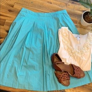 Teal Polkadotted pleated skirt